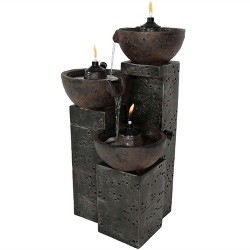 "34"" Burning Bowls 3-Tier Outdoor Water Fountain - Sunnydaze Decor"