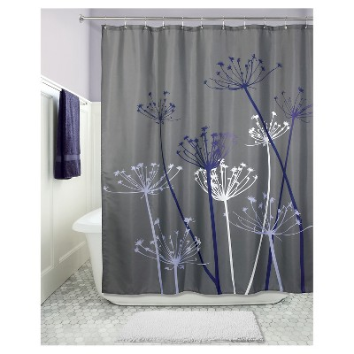 Shower Curtain Interdesign Floral Gray Yellow Target