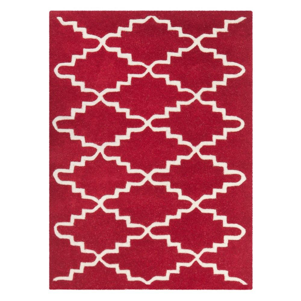 2'X3' Quatrefoil Design Tufted Accent Rug Red/Ivory - Safavieh