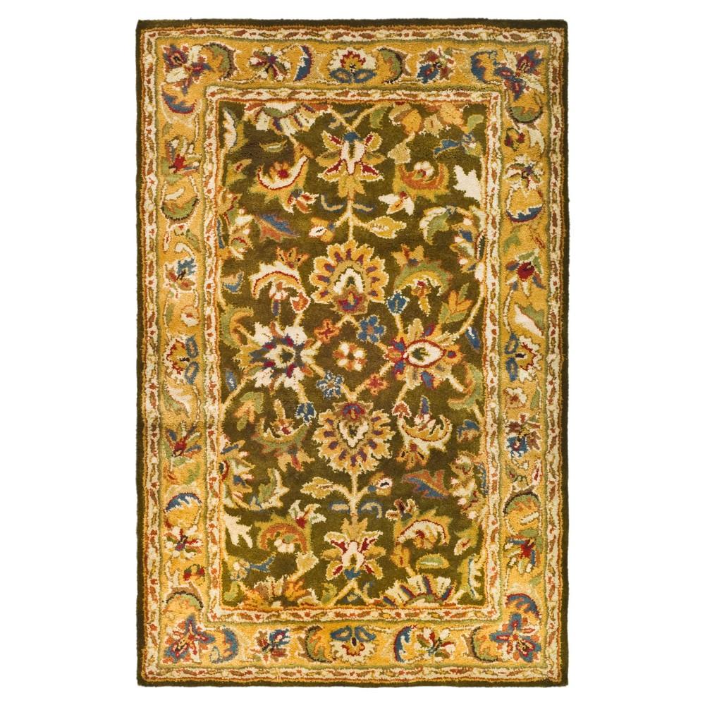 Olive/Camel (Green/Camel) Floral Tufted Accent Rug 2'3X4' - Safavieh
