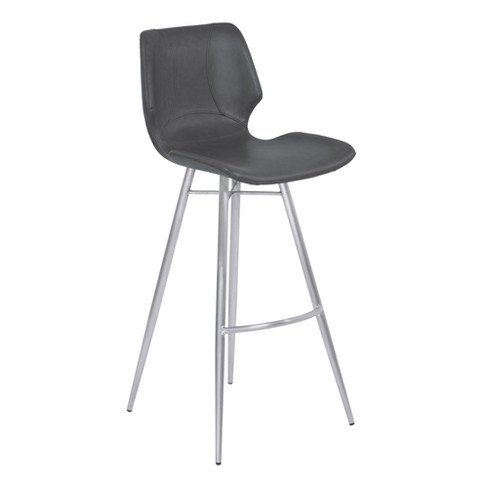 "30"" Zurich Bar Height Metal Barstool in Vintage Gray Faux Leather with Brushed Stainless Steel Finish - Armen Living - image 1 of 7"