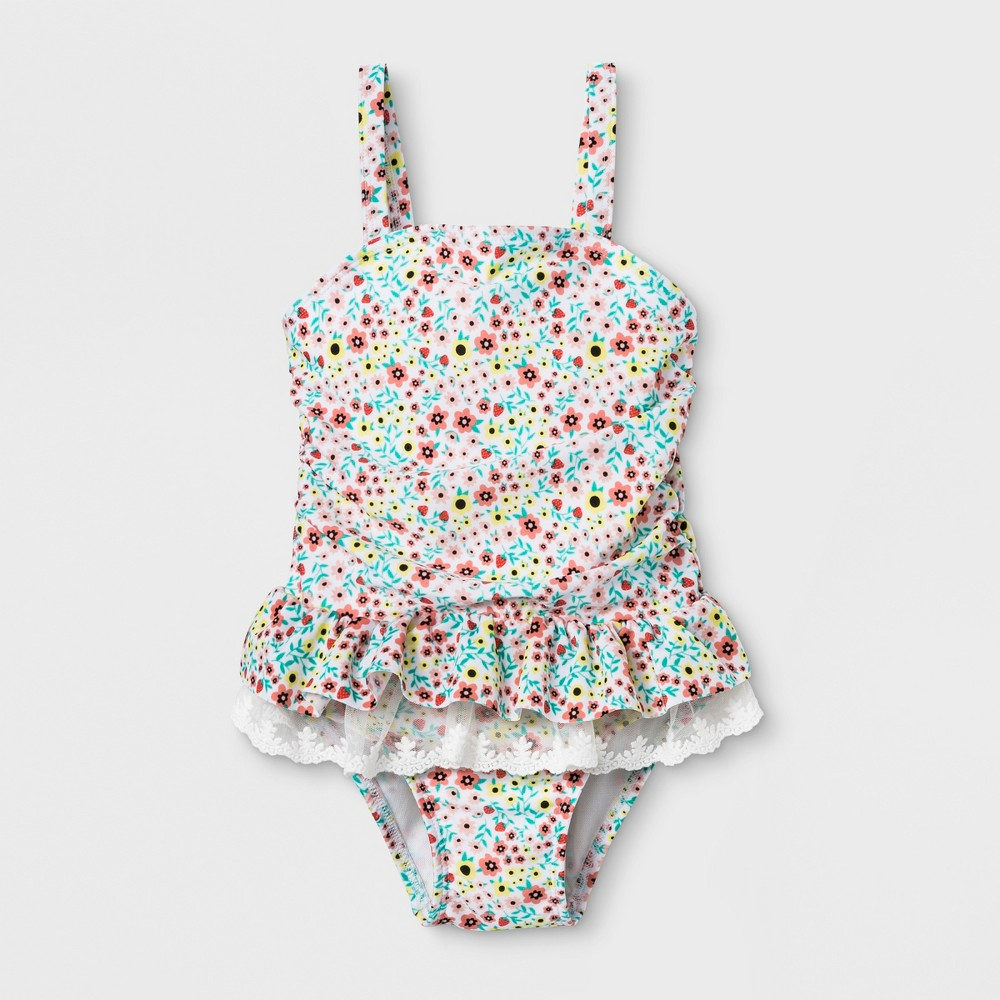 80ee8185aed64 Toddler Girls Lace Tutu One Piece Swimsuit Cat Jack 4T White