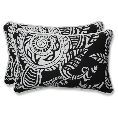 Outdoor/Indoor Addie Black Rectangular Throw Pillow Set of 2 - Pillow Perfect