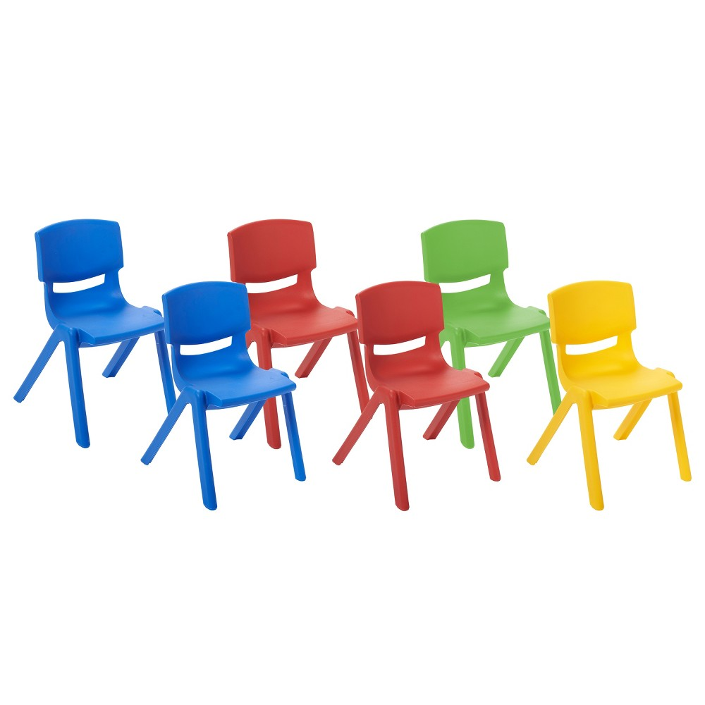 ECR4Kids Resin Chair 16 Assorted Pack, Blue Green Red Yellow
