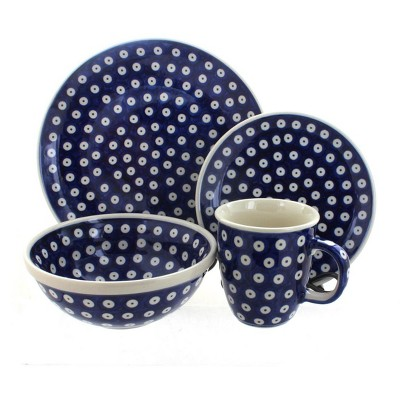 Blue Rose Polish Pottery Dots 4 Piece Place Setting - Service for 1