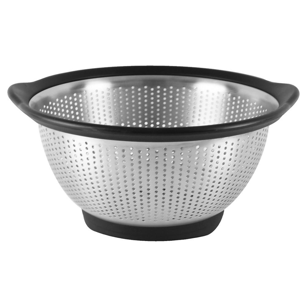 Image of KitchenAid 3 Quart Colander Stainless Steel Black Rim, Silver Black