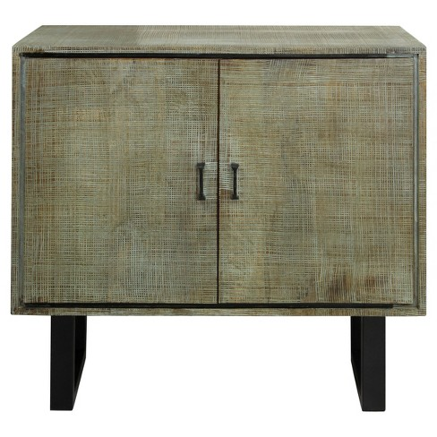 Solid Mango Wood 2 Door Storage Cabinet With Scored Finish And Metal