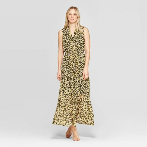 Women's Floral Print Sleeveless Collared A Line Dress - Who What Wear™ Yellow - image 1 of 10