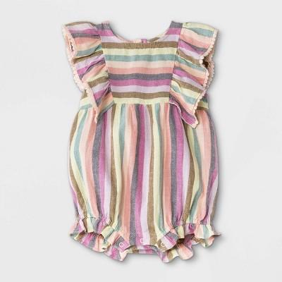 Baby Girls' Striped Woven Ruffle Leg Romper - Cat & Jack™