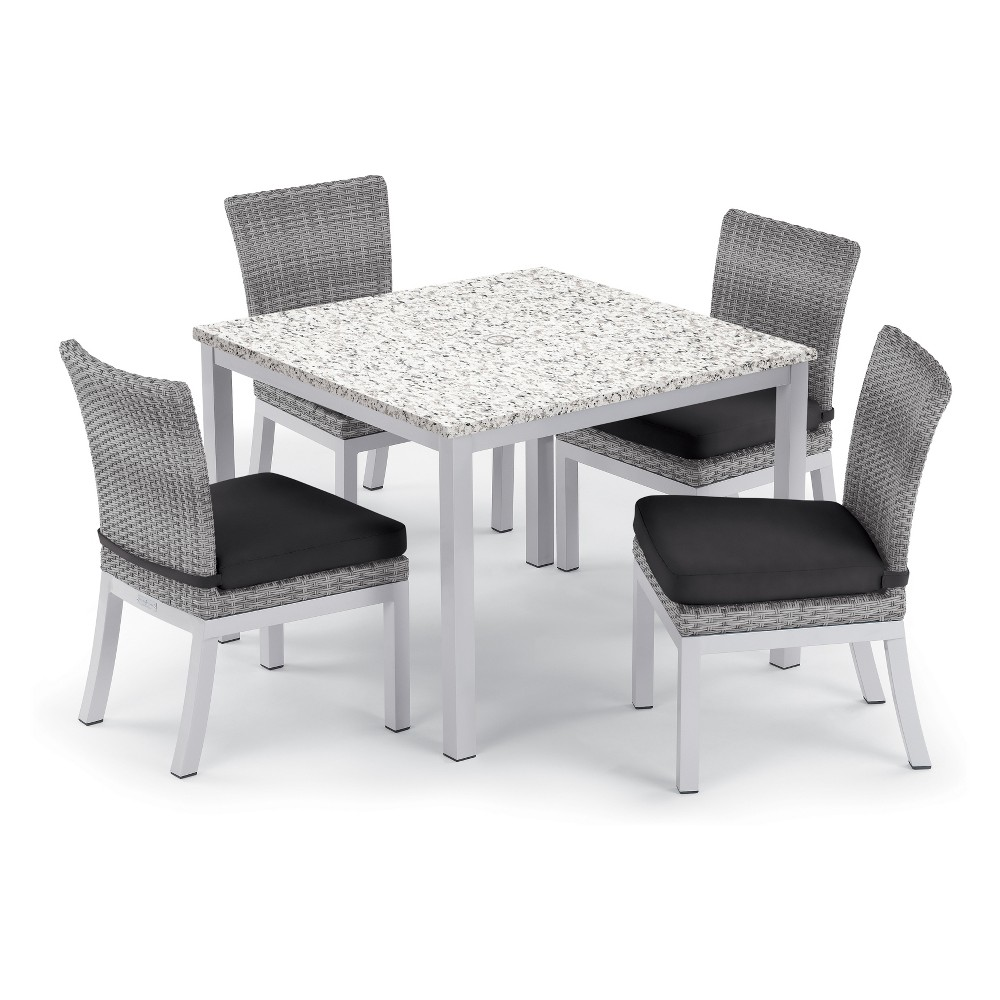 "Image of ""5pc Travira 39"""" Ash Dining Table & Argento Side Chair Set Jet Black Cushions - Oxford Garden"""