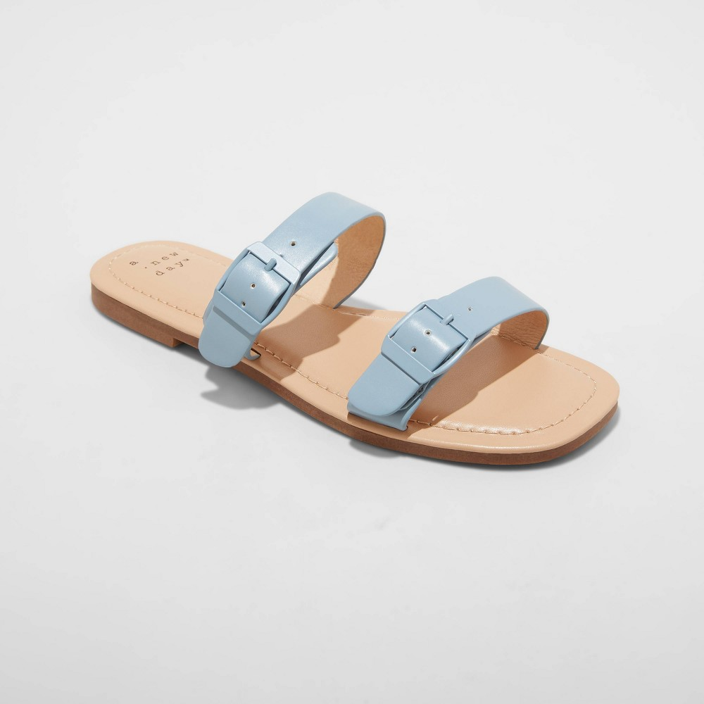 Women 39 S Penny Two Band Buckle Sandals A New Day 8482 Blue 6 5