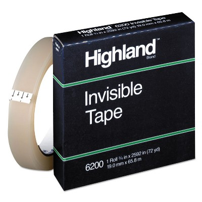 "Highland Invisible Permanent Mending Tape 3/4"" x 2592"" 3"" Core Clear 6200342592"