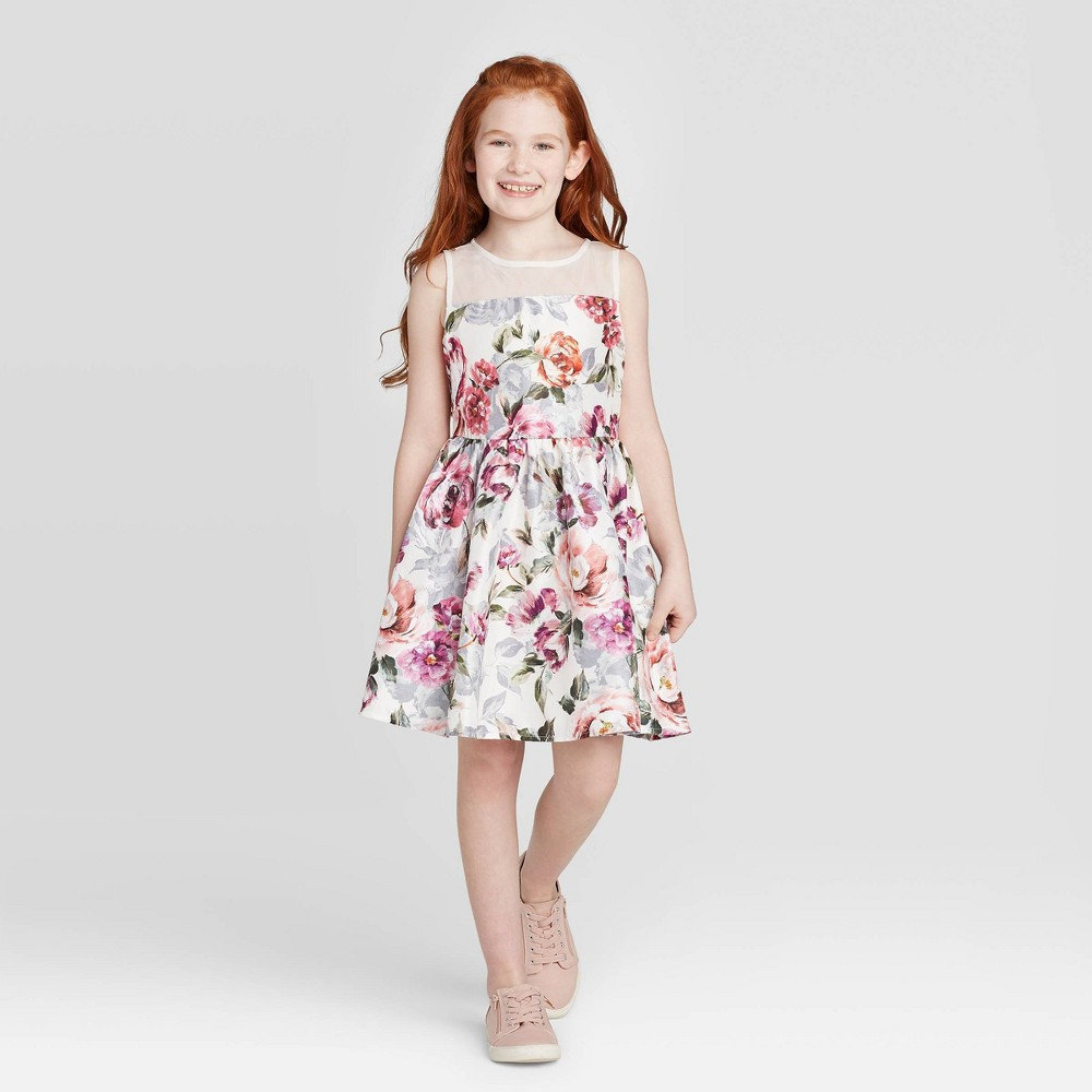 Image of Zenzi Girls' Floral Dress - Ivory L, Girl's, Size: Large, MultiColored