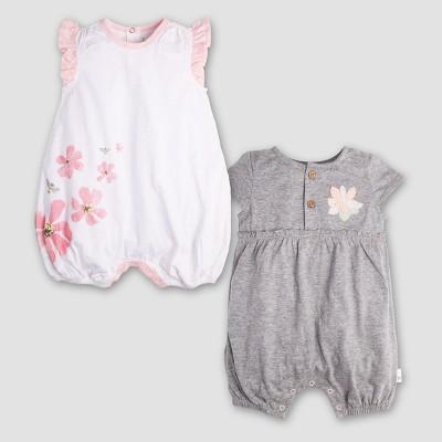 Burt's Bees Baby Girls' 2pk Organic Cotton Flower Bubble Dress - Heather Gray 0-3M