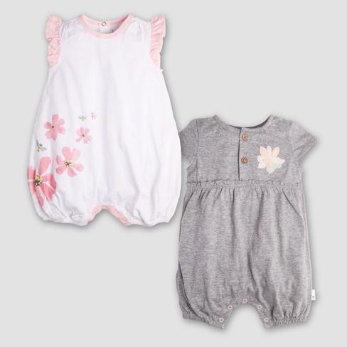 021c63a2ad4 Burt s Bees Baby Girls  2pk Organic Cotton Flower Bubble Dress - Heather  Gray