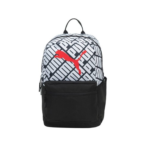 """Puma 18.5"""" Text Book Backpack - Black/White - image 1 of 4"""