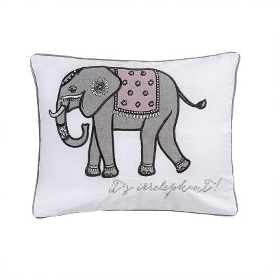 Rachelle Embroidered Elephant Decorative Throw Pillow White - Homthreads