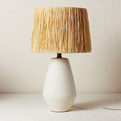 Ceramic Table Lamp with Natural Shade Cream (Includes LED Light Bulb) - Opalhouse™ designed with Jungalow™