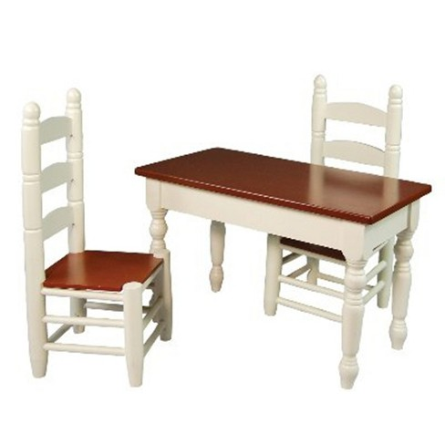 The Queen S Treasures 18 Inch Doll Furniture Off White Wooden Farmhouse Kitchen Table And Two Chairs