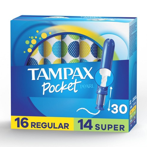 Tampax Pocket Pearl Regular/Super Absorbency with LeakGuard Braid, Duopack & Unscented Plastic Tampons - 30ct - image 1 of 4