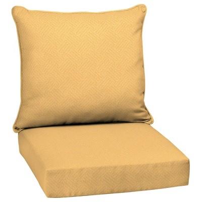 Shirt Texture Deep Seat Outdoor Cushion Set Yellow - Arden Selections
