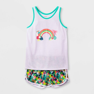 Girls' 2pc Rainbow Pajama Set - Cat & Jack™ Purple M