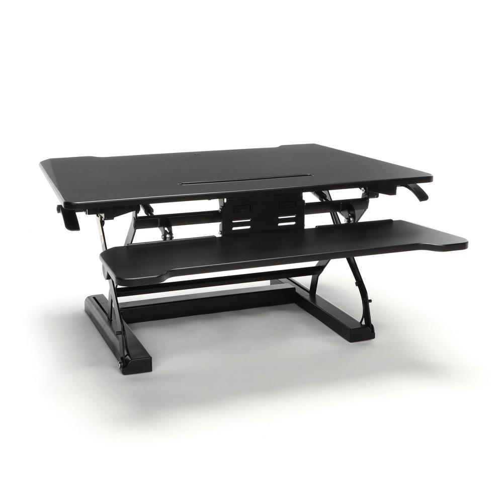 Adjustable Desktop Riser with Keyboard Tray Black - Ofm Adjustable Desktop Riser with Keyboard Tray Black - Ofm