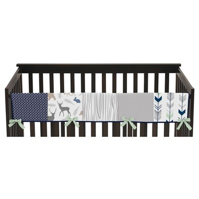 Sweet Jojo Designs Front Crib Rail Guard Cover - Navy & Mint Woodsy