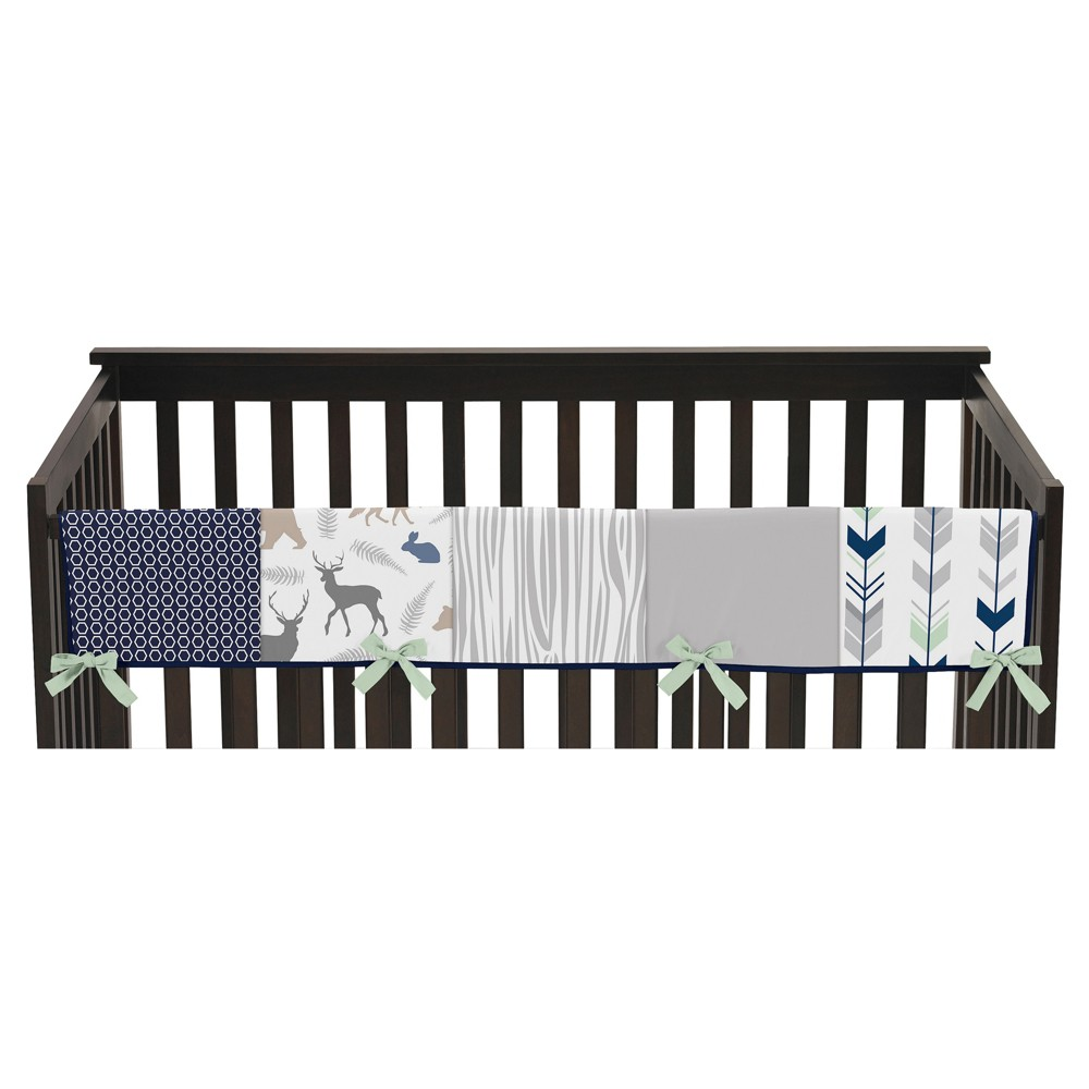 Image of Sweet Jojo Designs Front Crib Rail Guard Cover - Navy & Mint Woodsy, Gray Blue