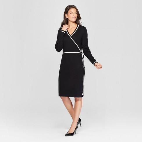 4731b31f2a6 Women s Contrast Wrap Sweater Dress - Spenser Jeremy - Black White ...