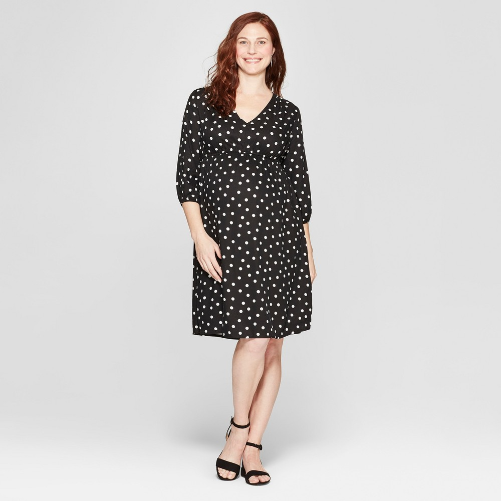 Vintage Maternity Clothing Styles 1910-1960 Maternity Polka Dot Fit  Flare Dress - Isabel Maternity by Ingrid  Isabel Black  White Dot M Womens $29.99 AT vintagedancer.com