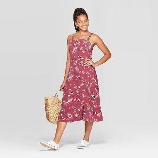 Women's Floral Print Sleeveless Square Neck Side Button Midi Dress - Xhilaration™ Plum XS