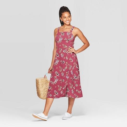 Women's Floral Print Sleeveless Square Neck Side Button Midi Dress - Xhilaration™ Plum - image 1 of 3