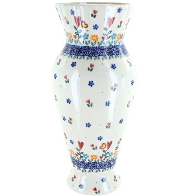 Blue Rose Polish Pottery Hearts & Flowers Tall Vase