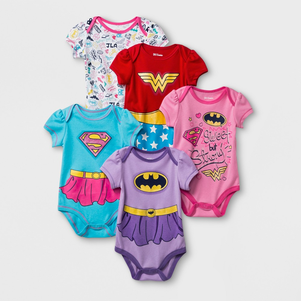Image of Baby Girls' DC Comics 5pk Supergirl/Wonder Woman/Batgirl Bodysuit - Pink/Yellow 18M, Girl's, Size: Small, MultiColored