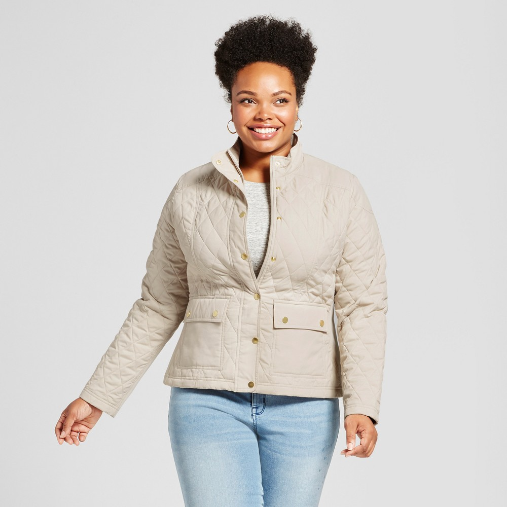 Plus Size Women's Plus Quilted Jacket - Ava & Viv Cream (Ivory) 3X