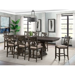 Stanford Counter Height Dining Set with Swirl Back Chairs - 9pc - Picket House Furnishings