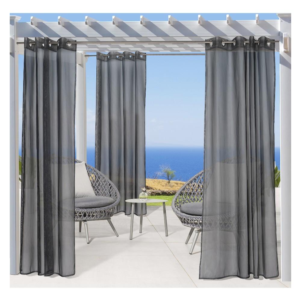 """Image of """"50""""""""x108"""""""" No Se'em Grommet Top Solid Mesh Indoor/Outdoor Curtain Panel Black - Outdoor Décor"""""""