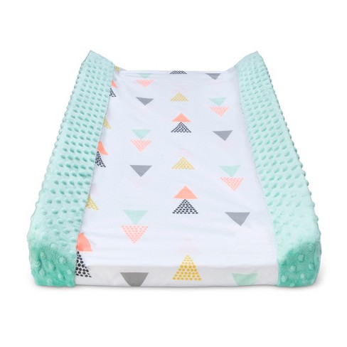 Wipeable Changing Pad Cover with Plush Sides Triangles - Cloud Island™ Gray - image 1 of 2