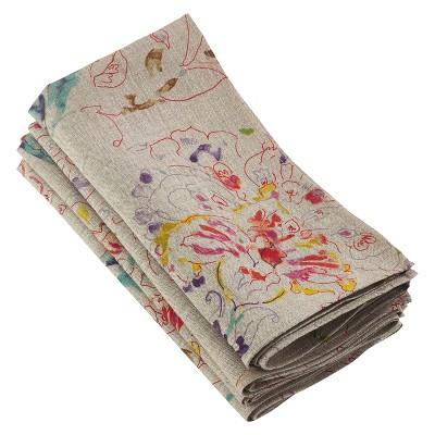 4pk Light Brown Primavera Printed Floral Design Napkin 20  - Saro Lifestyle®
