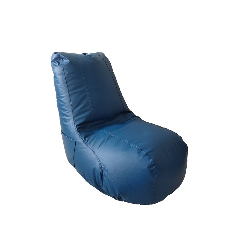 This Light gray Video Bean Bag Chair with ergonomic support is sure to be your childs new favorite seat in the house! The soft, luxurious faux leather bean bag is as beatiful as it is practical. Made with polystyrene beads and a double sewn cover, this seating solution is both comfortable and durable. The bean bag is resistant to tearing thanks to the sturdy construction. The backrest provides additional comfort, and the lightweight design with a sewn on handle makes this chair moveable throughout your home. Great for reading, watching tv, playing video games, movie nights, hanging out with friends or more general relaxation. No matter the activity, this seat provides support for one\\\'s back, which allows for hours of enjoyment. Designed for ultimate comfort with superior style, this chair is great for children, teens, and even adults. Whether placed in the living room, play room, basement, bedroom, or dorm room, this soft bean bag chair will be a great addition to your family\\\'s home. Color: Blue. Pattern: Solid.