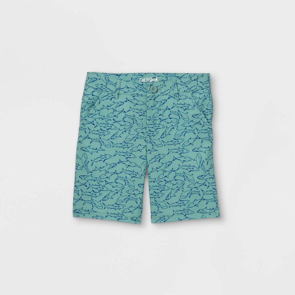 Boys 39 Quick Dry Print Chino Shorts Cat 38 Jack 8482 Green 10