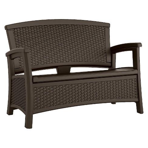 Fabulous Suncast Elements Resin Patio Storage Loveseat Dailytribune Chair Design For Home Dailytribuneorg