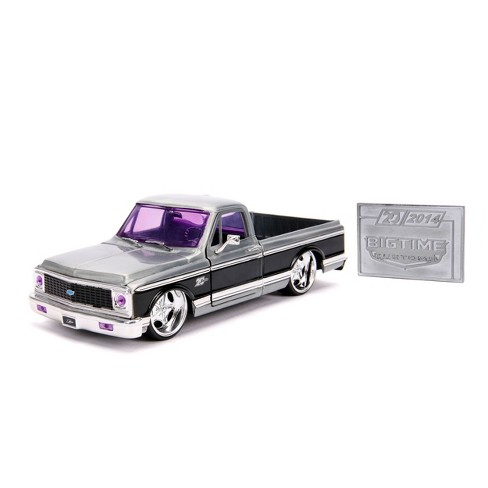Jada Toys 20th Anniversary Big Time Kustoms 1972 Chevy Cheyenne Die-Cast Vehicle with Mosiac Die-Cast Tile 1:24 Scale Brush Raw Metal - image 1 of 4