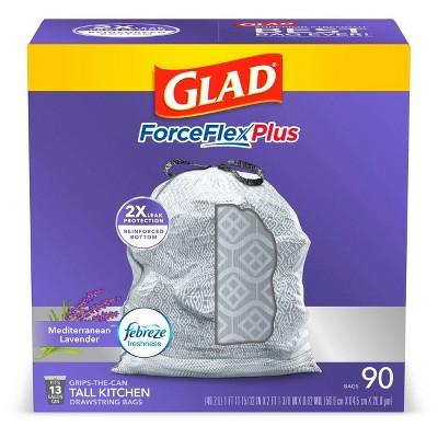 Glad ForceFlexPlus Tall Kitchen Drawstring Trash Bags 13 Gallon - White Febreze Mediterranean Lavender - 90ct
