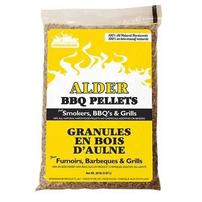 Smokehouse 9780-040-0000 Alder BBQ Smoker & Grill Smoking 100 Percent Natural Hardwood Wood Pellets, 20 Pound Bag