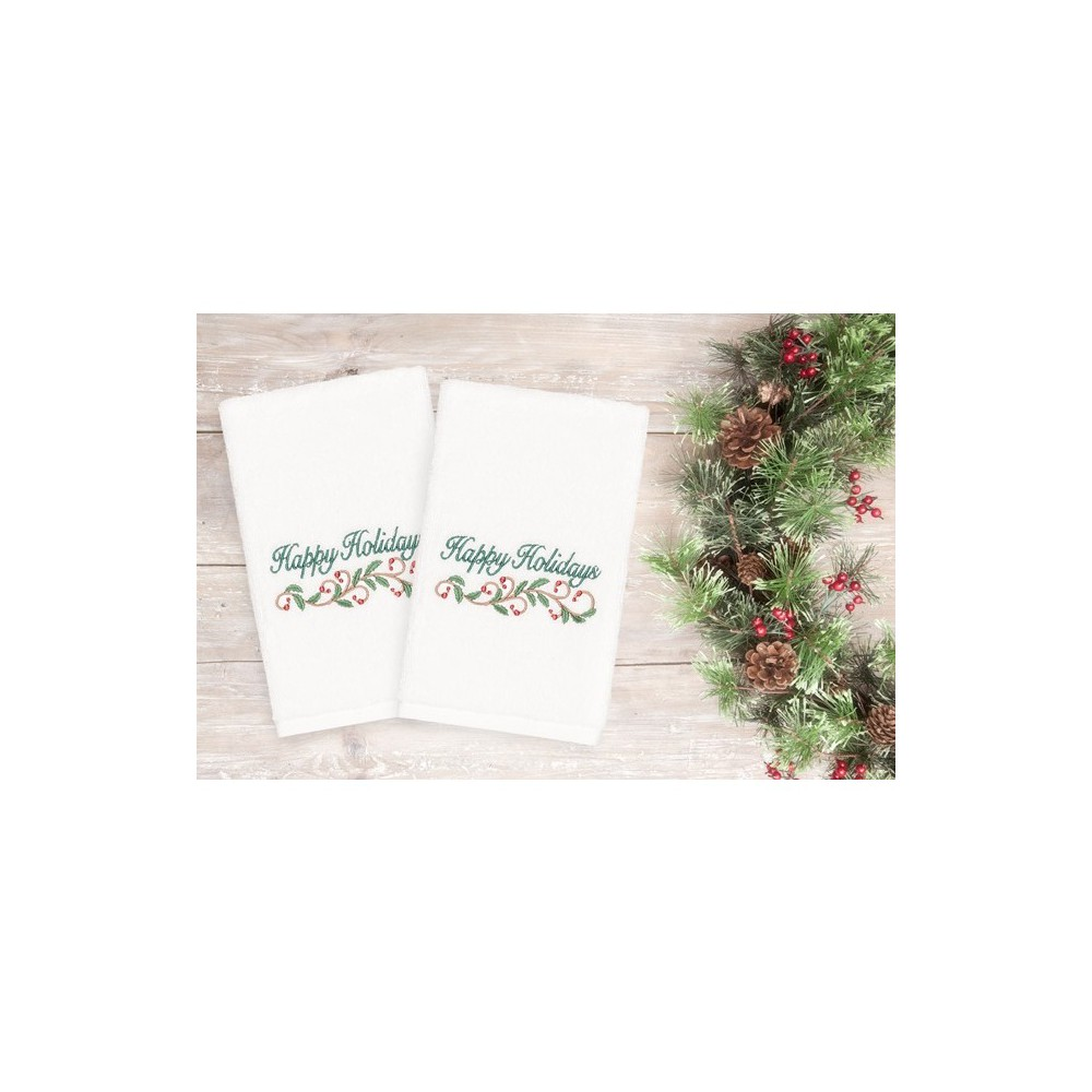 Image of 2pk Happy Holidays Hand Towels White - Linum Home Textiles