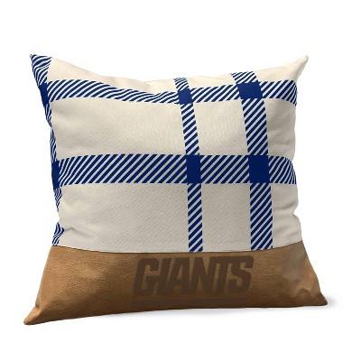 NFL New York Giants Farmhouse Plaid Faux Leather Throw Pillow