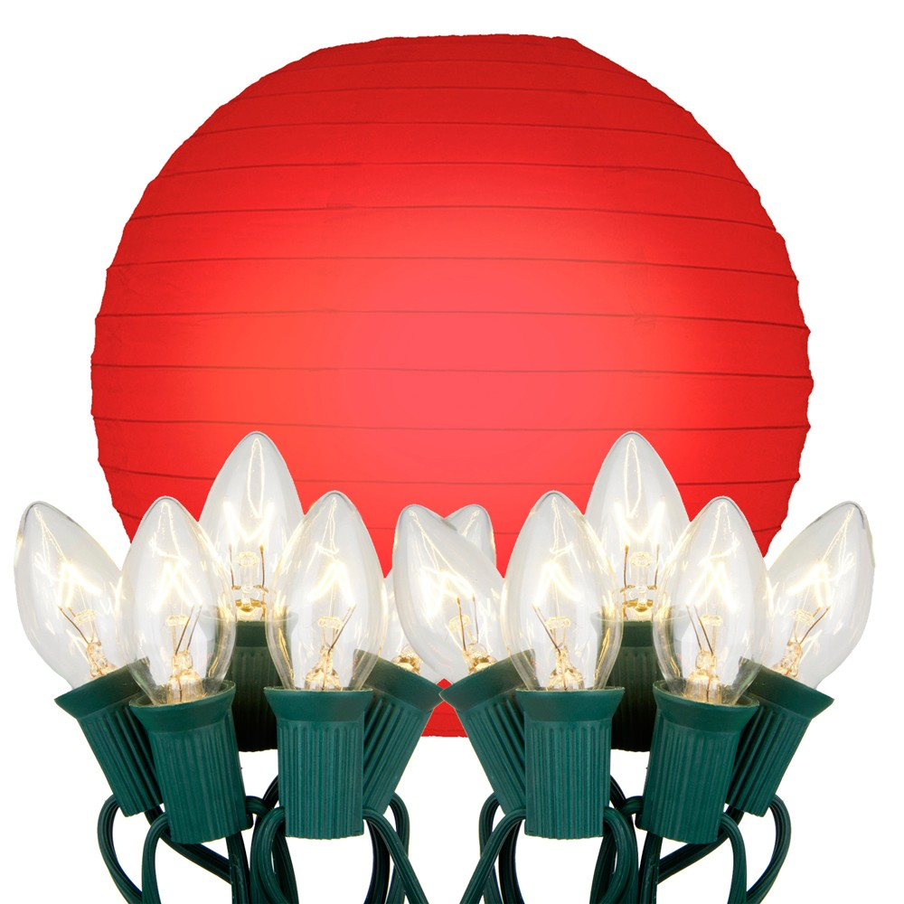 "Image of ""10ct 10"""" Electric String Light with 10"""" Paper Lanterns Red"""