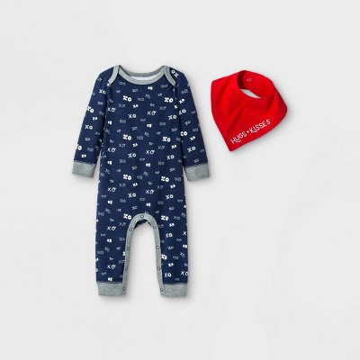Baby XOXO Romper with Bib - Cat & Jack™ Navy Newborn